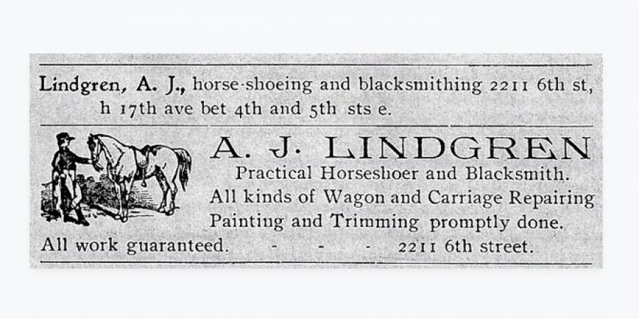 Listings from the 1902-03 Tuscaloosa City Directory for the home and blacksmith shop of A. J. Lindgren.
